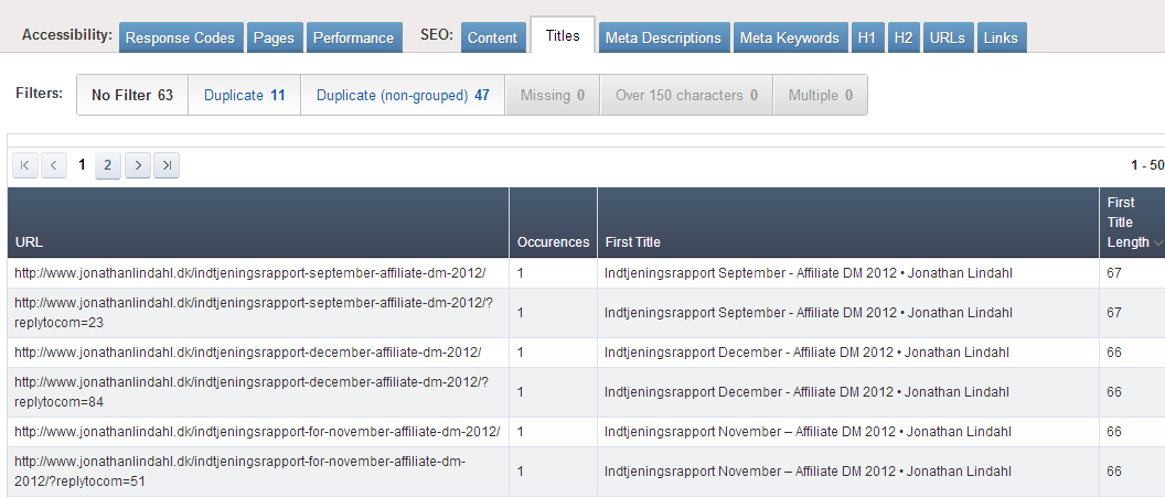 Ahrefs - SEO Reports - Titles
