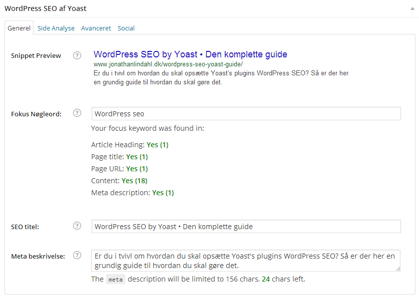 WordPress SEO Meta Box