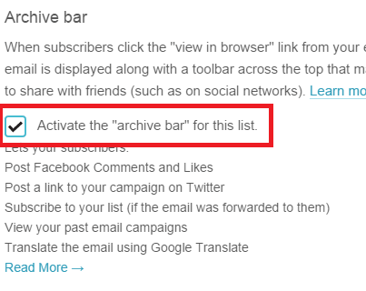Archive bar - MailChimp