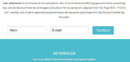 Opt-in form - Om mig